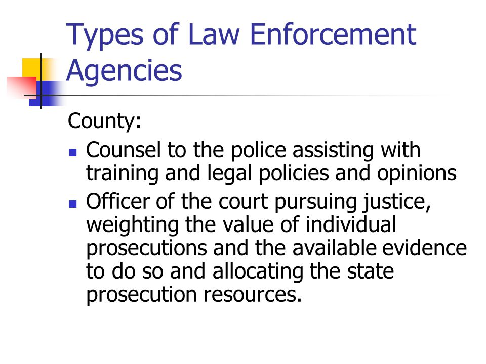 Types of Law Enforcement Agencies