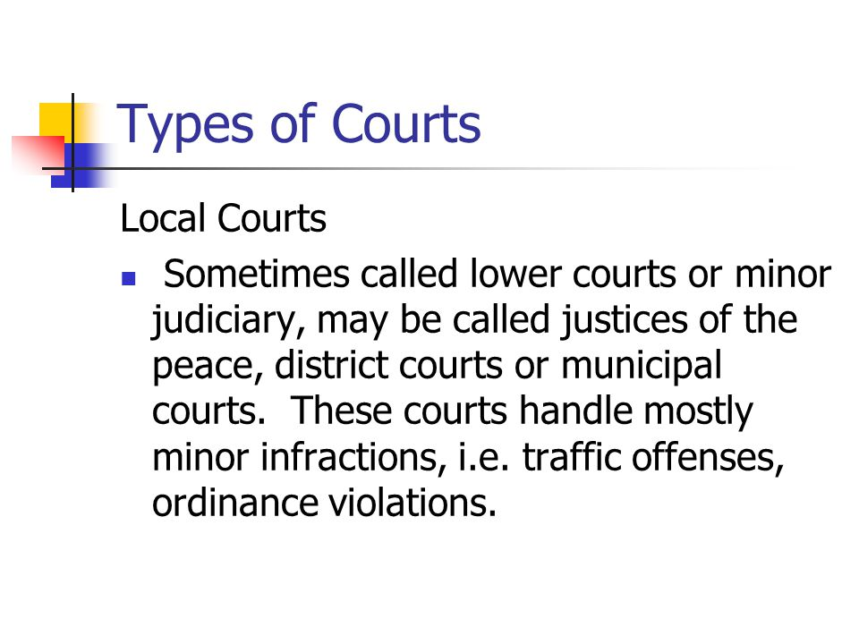 Types of Courts Local Courts