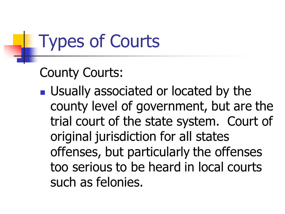 Types of Courts County Courts: