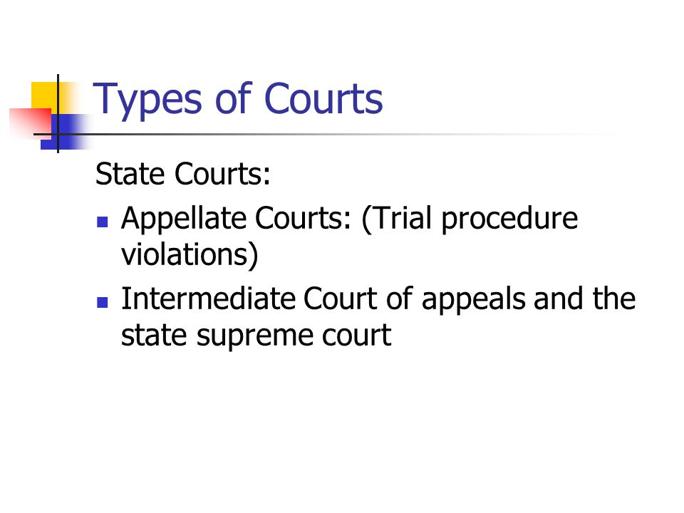 Types of Courts State Courts: