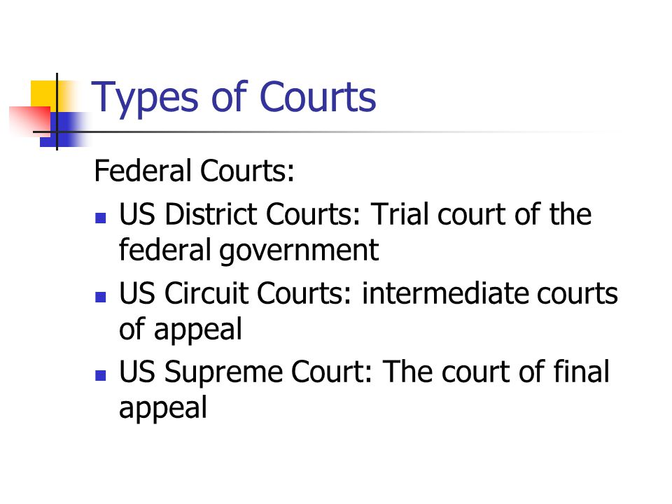 Types of Courts Federal Courts: