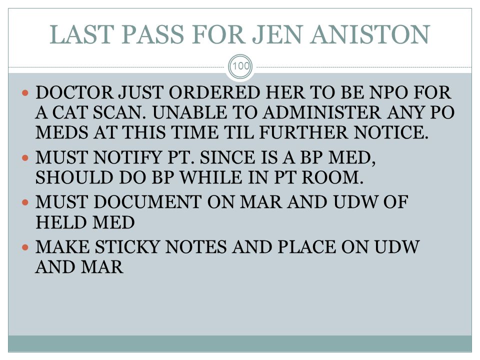 LAST PASS FOR JEN ANISTON