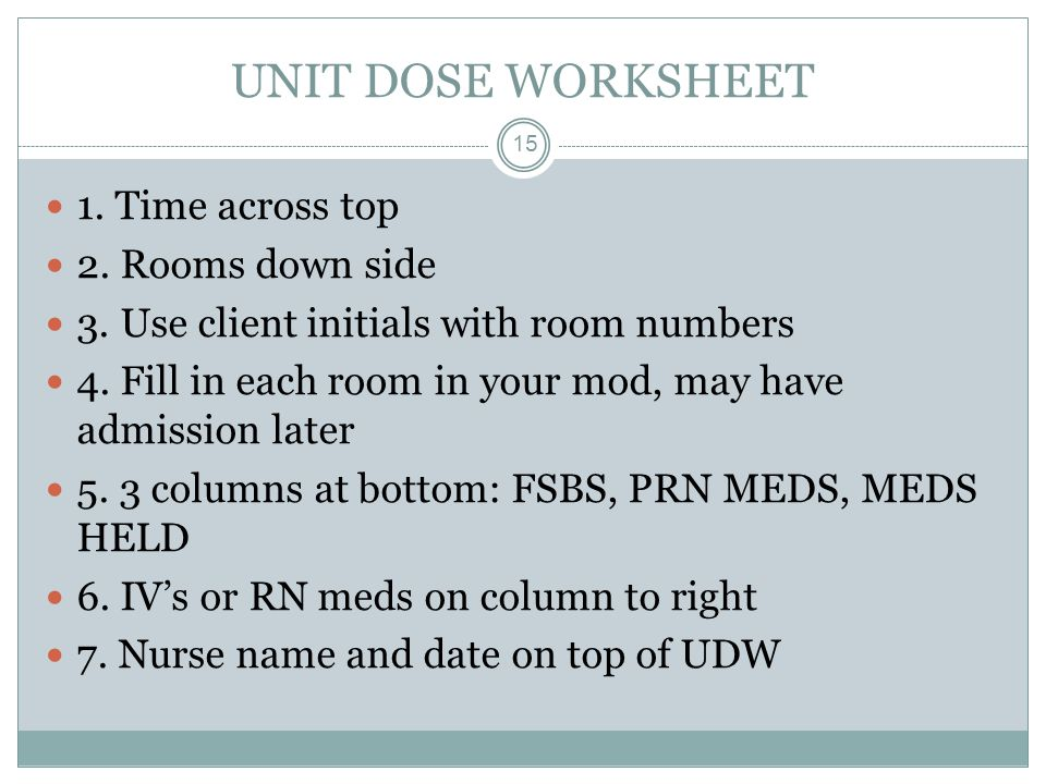 UNIT DOSE WORKSHEET 1. Time across top 2. Rooms down side