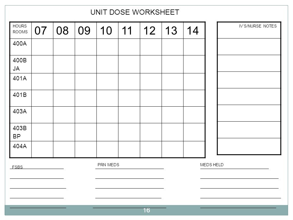 07 08 09 10 11 12 13 14 UNIT DOSE WORKSHEET 400A 400B JA 401A 401B