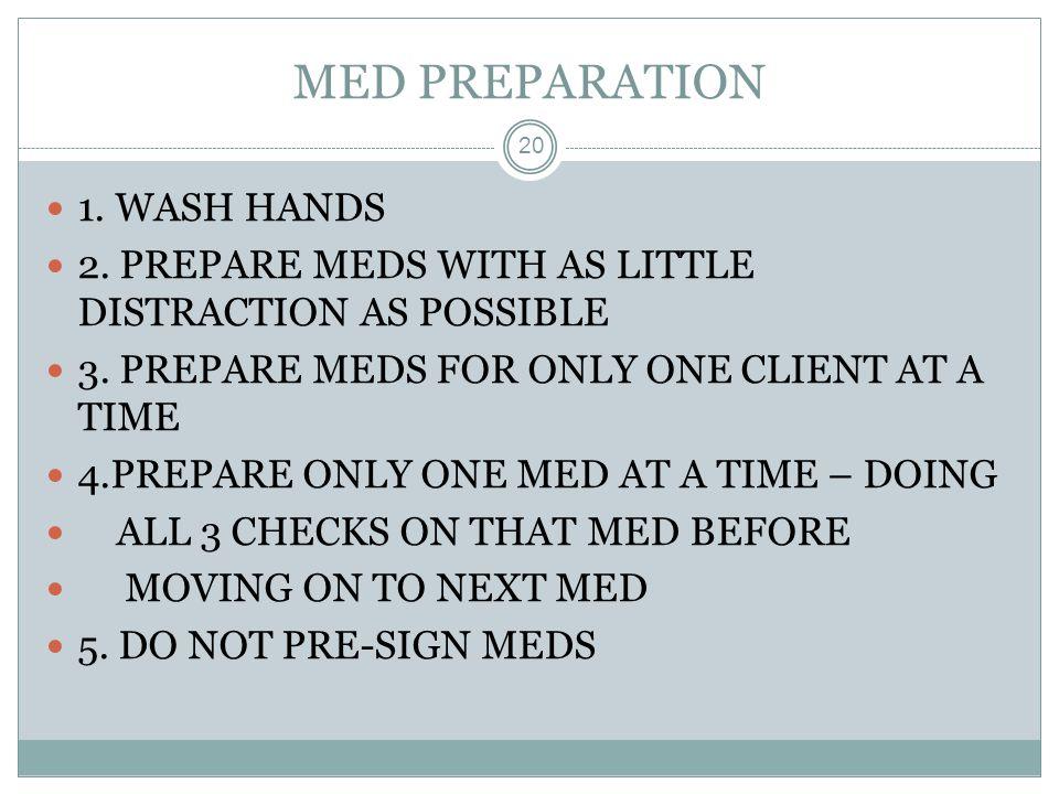 MED PREPARATION 1. WASH HANDS