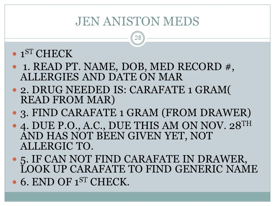 JEN ANISTON MEDS 1ST CHECK