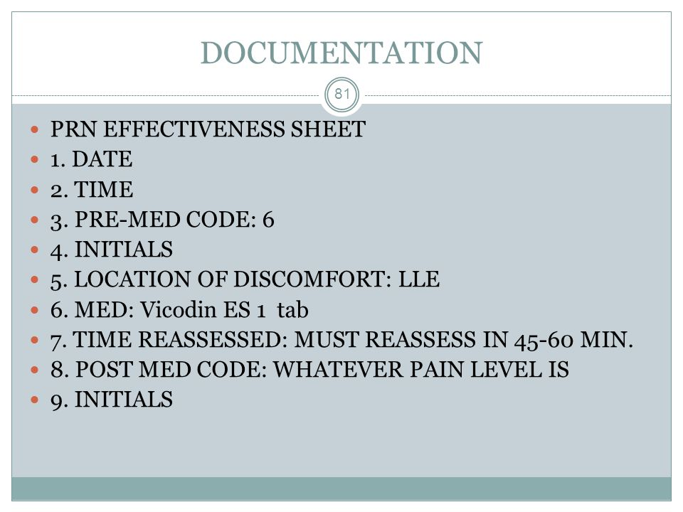 DOCUMENTATION PRN EFFECTIVENESS SHEET 1. DATE 2. TIME
