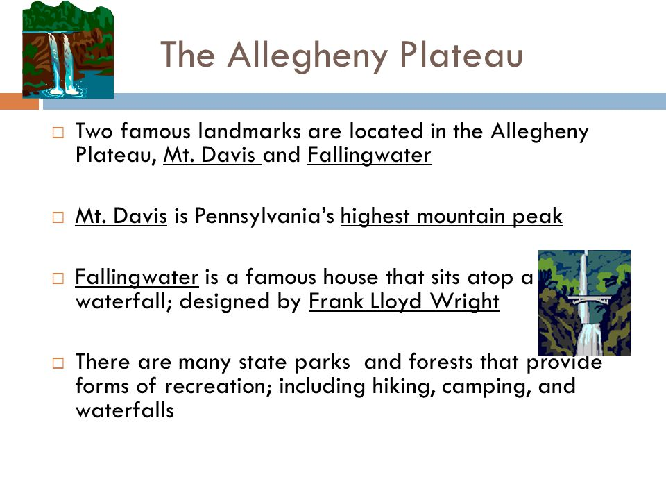 The Allegheny Plateau Two famous landmarks are located in the Allegheny Plateau, Mt. Davis and Fallingwater.