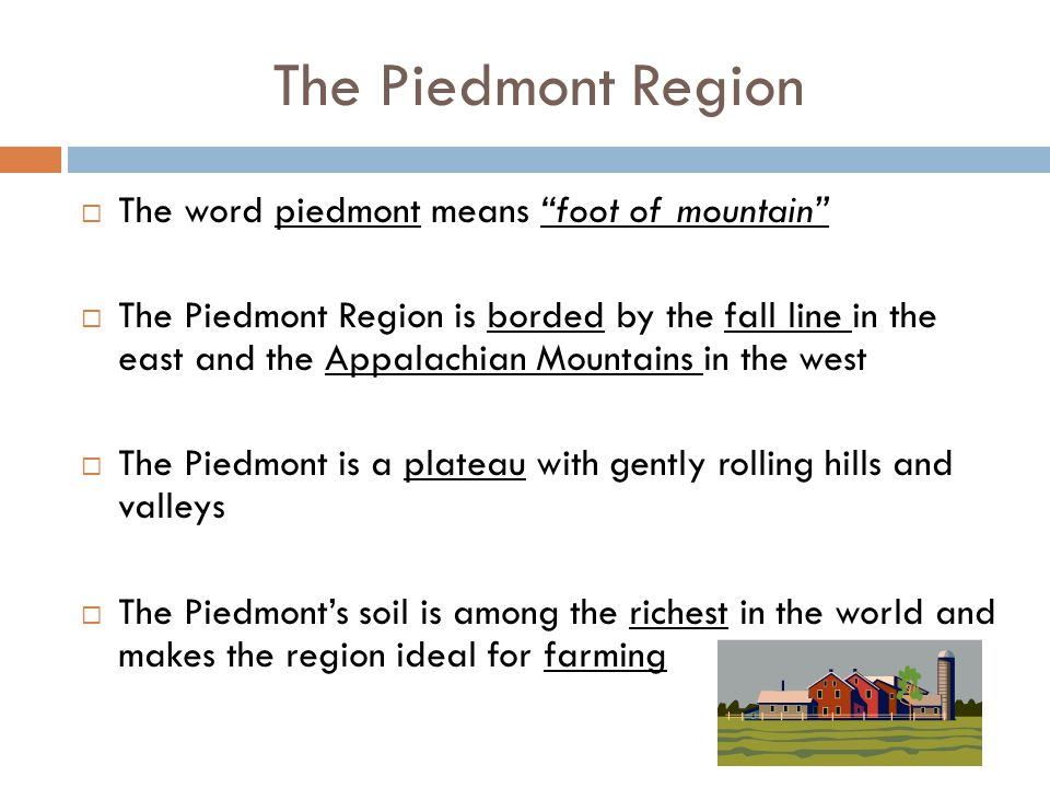 The Piedmont Region The word piedmont means foot of mountain