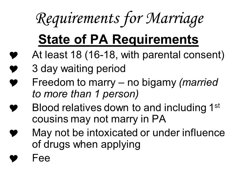 Requirements for Marriage
