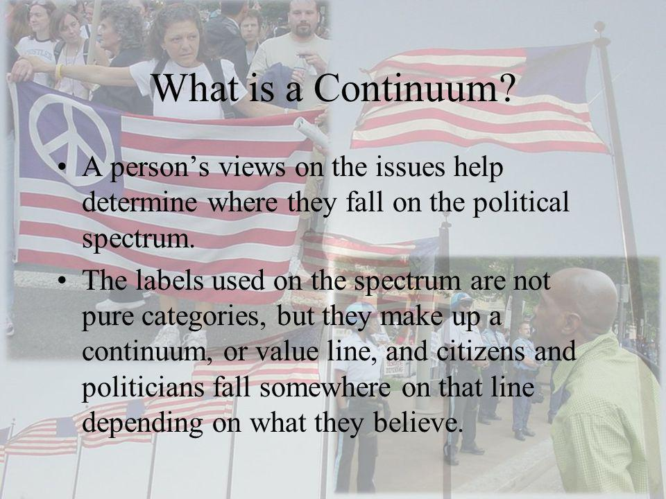 What is a Continuum A person's views on the issues help determine where they fall on the political spectrum.