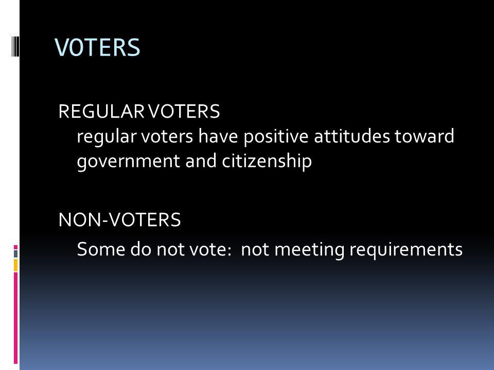 VOTERS REGULAR VOTERS regular voters have positive attitudes toward government and citizenship NON-VOTERS Some do not vote: not meeting requirements