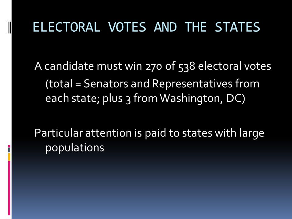 ELECTORAL VOTES AND THE STATES