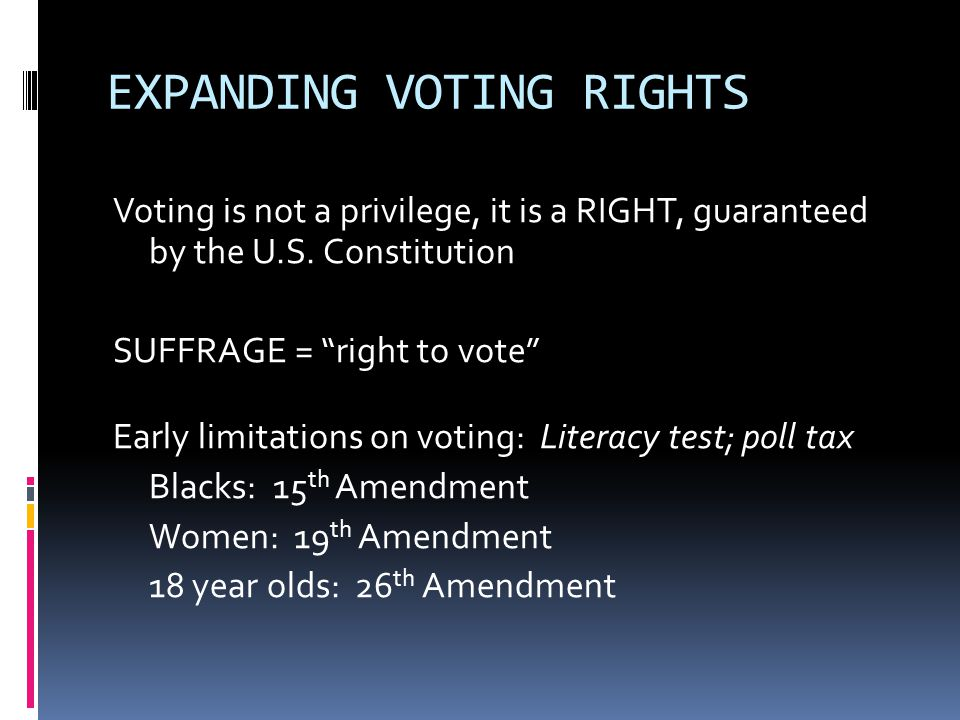 EXPANDING VOTING RIGHTS