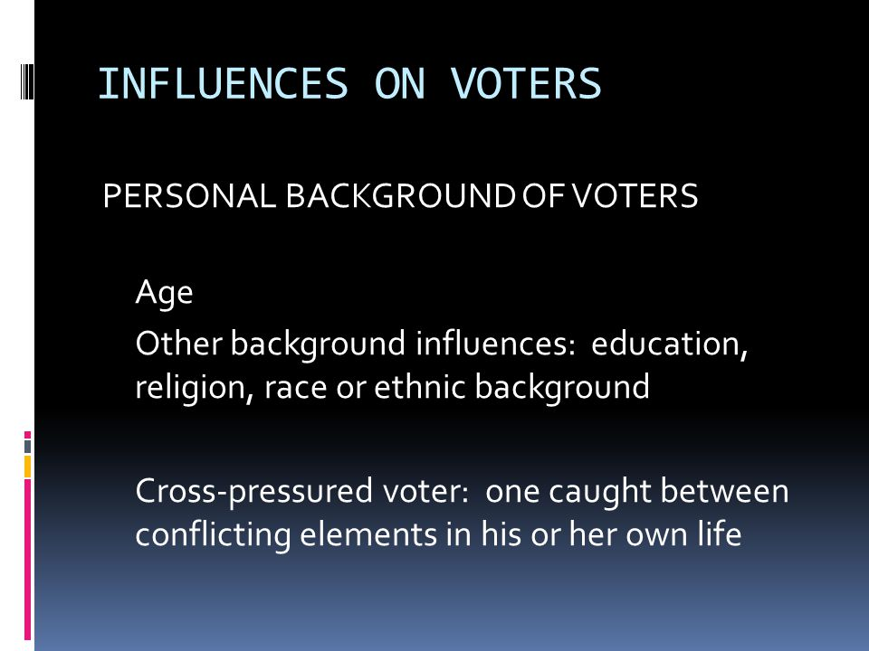 INFLUENCES ON VOTERS