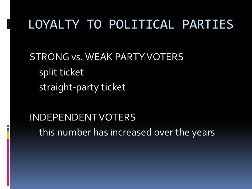 LOYALTY TO POLITICAL PARTIES