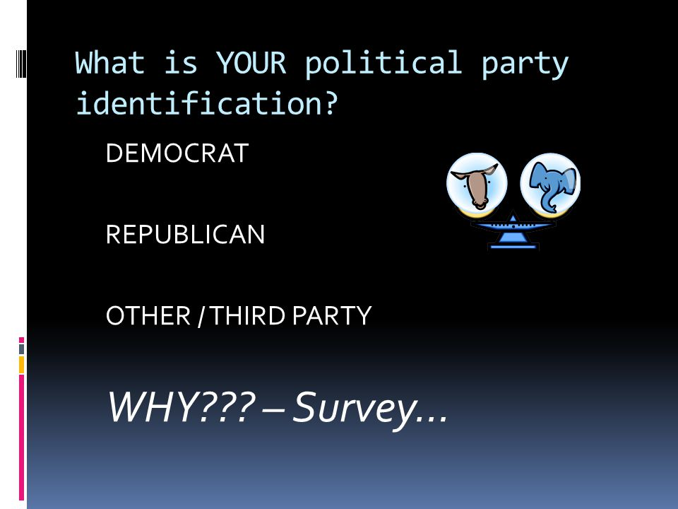What is YOUR political party identification