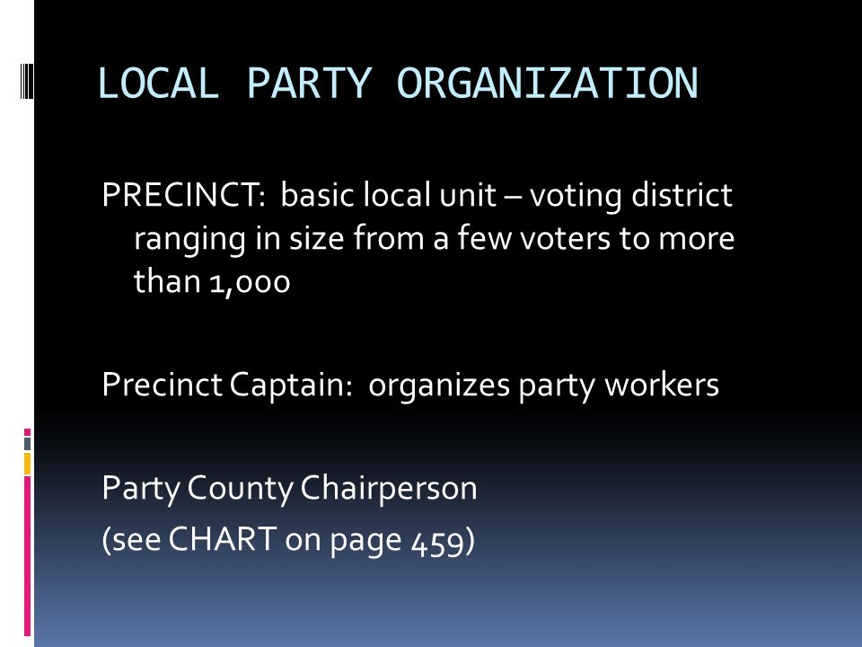 LOCAL PARTY ORGANIZATION
