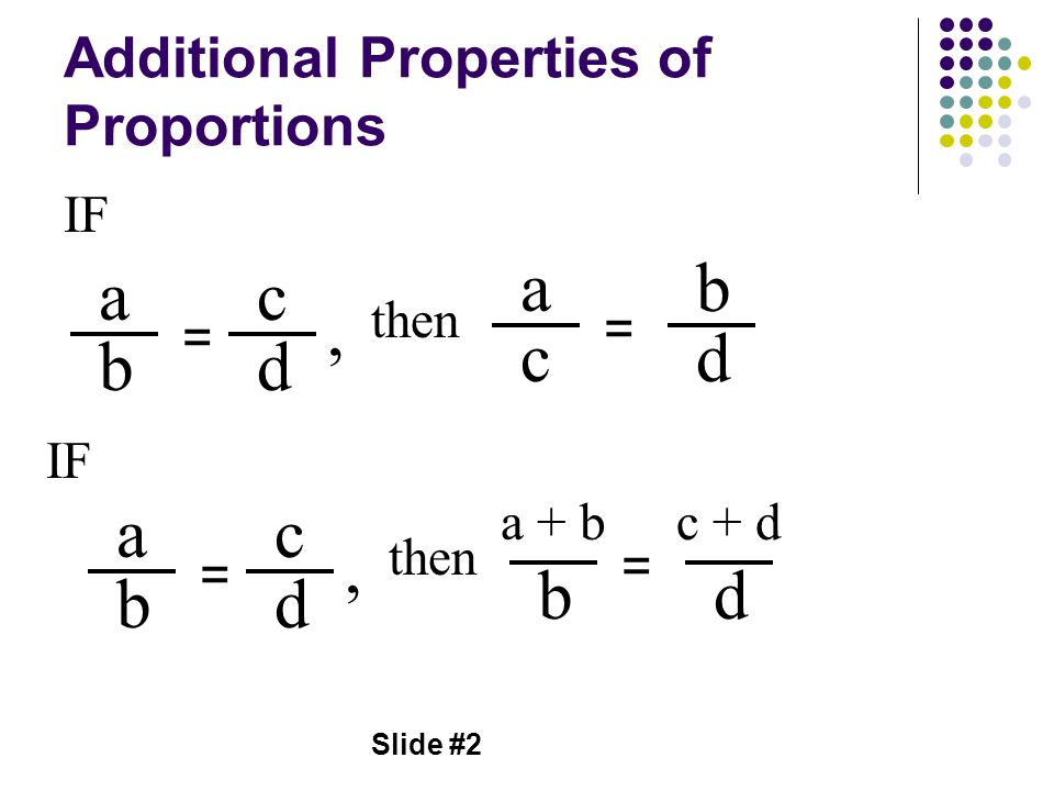 Additional Properties of Proportions