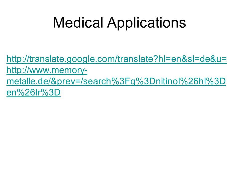 Medical Applications http://translate.google.com/translate hl=en&sl=de&u=http://www.memory-metalle.de/&prev=/search%3Fq%3Dnitinol%26hl%3Den%26Ir%3D.