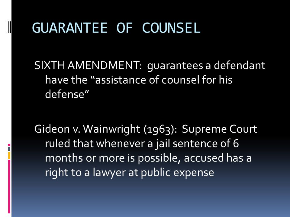 GUARANTEE OF COUNSEL