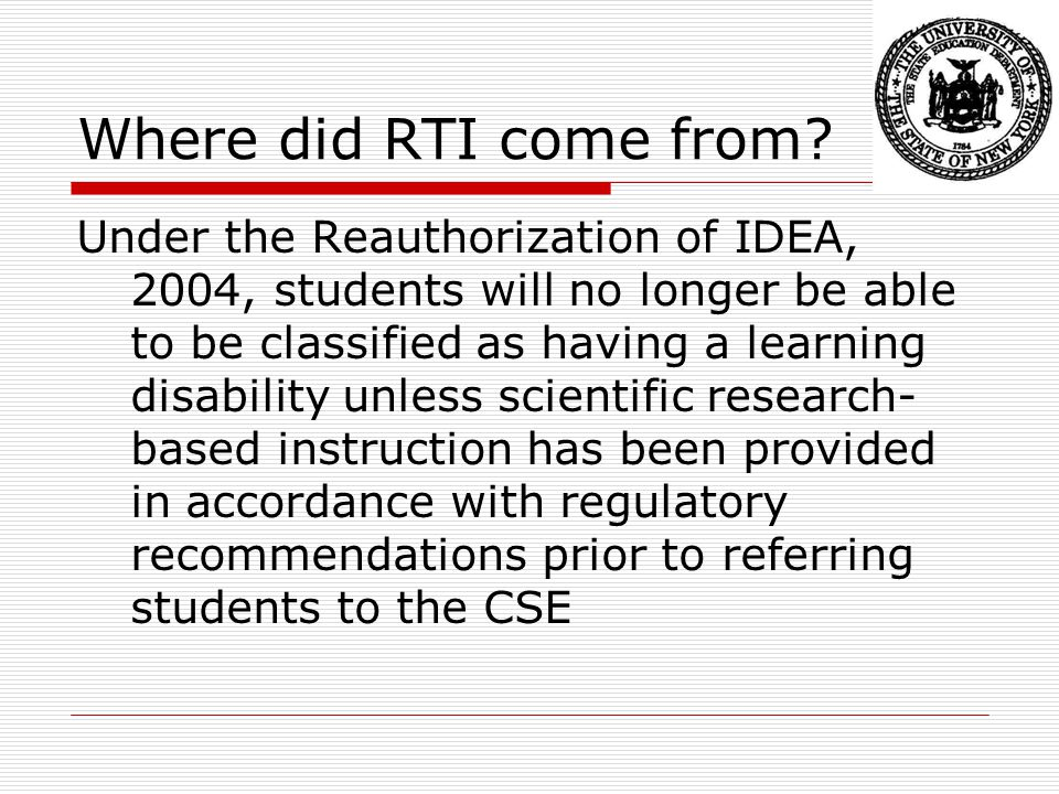 Where did RTI come from