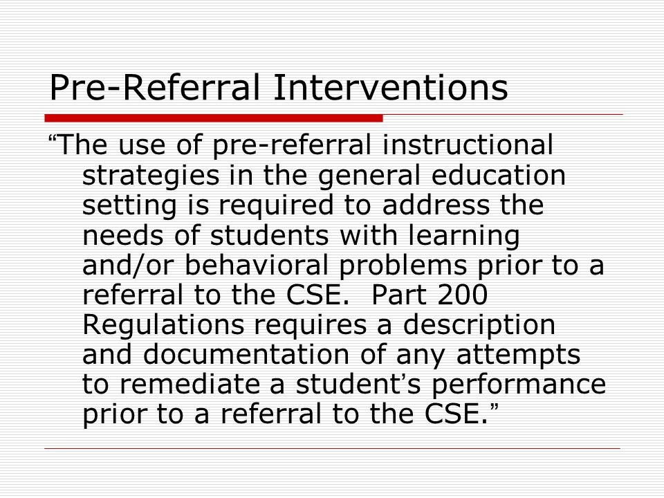 Pre-Referral Interventions