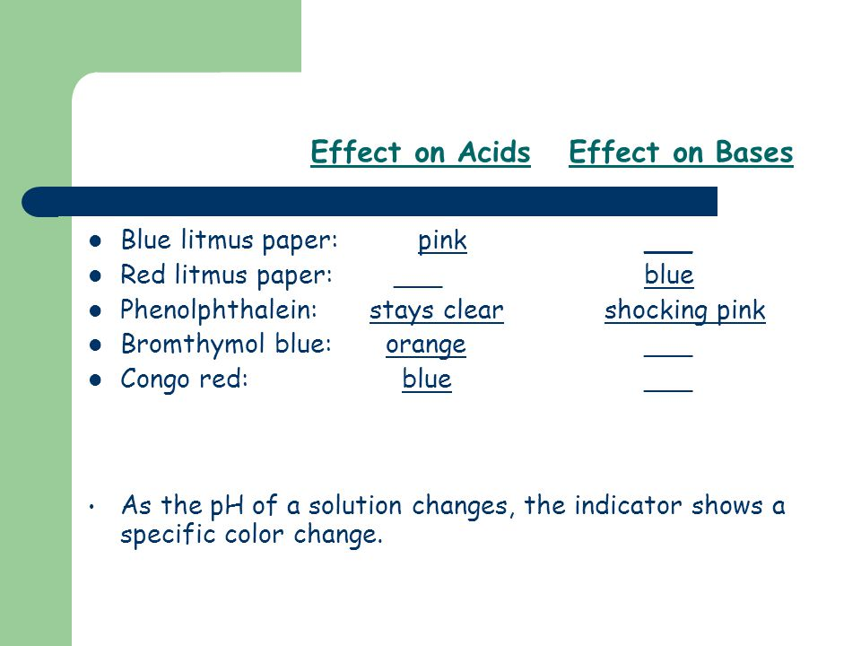 Effect on Acids Effect on Bases