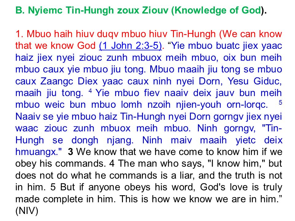 B. Nyiemc Tin-Hungh zoux Ziouv (Knowledge of God).