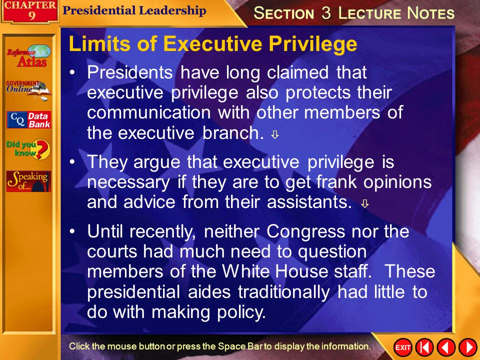 Limits of Executive Privilege