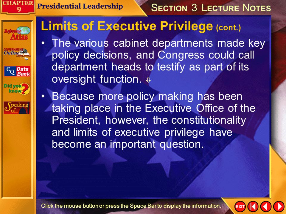 Limits of Executive Privilege (cont.)