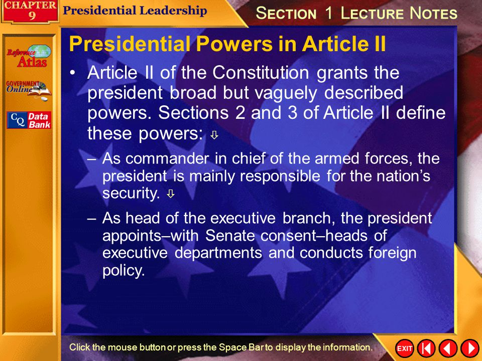 Presidential Powers in Article II