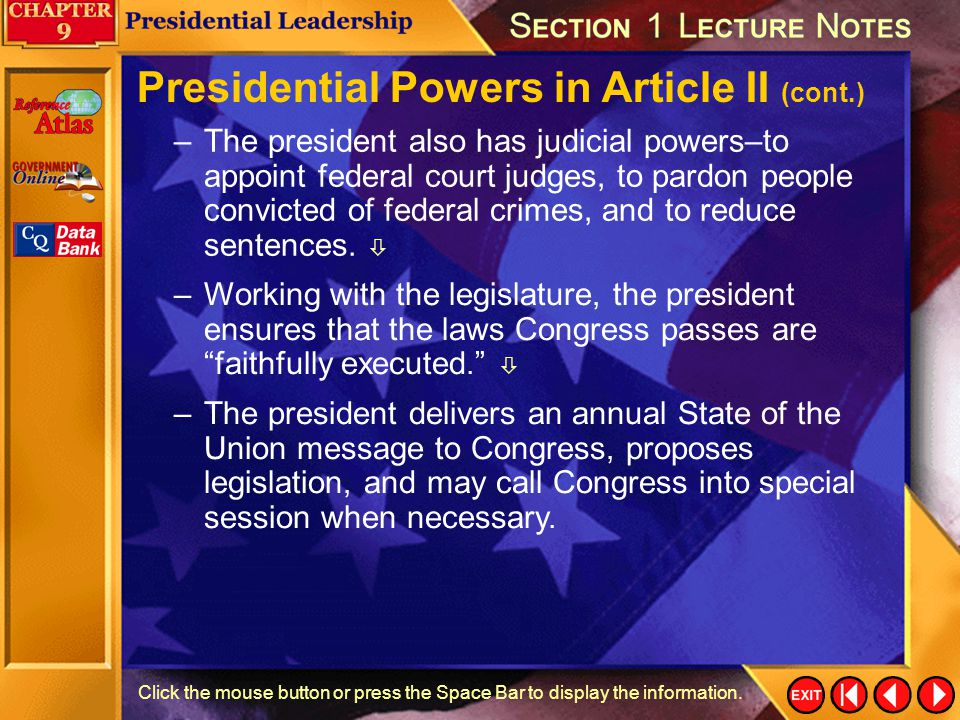 Presidential Powers in Article II (cont.)