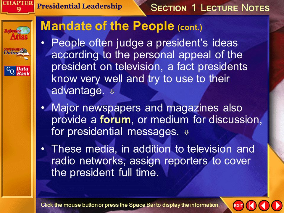 Mandate of the People (cont.)