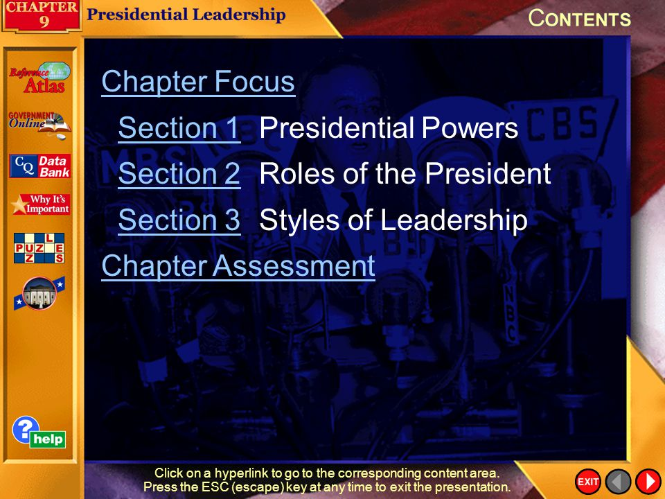 Section 1 Presidential Powers Section 2 Roles of the President