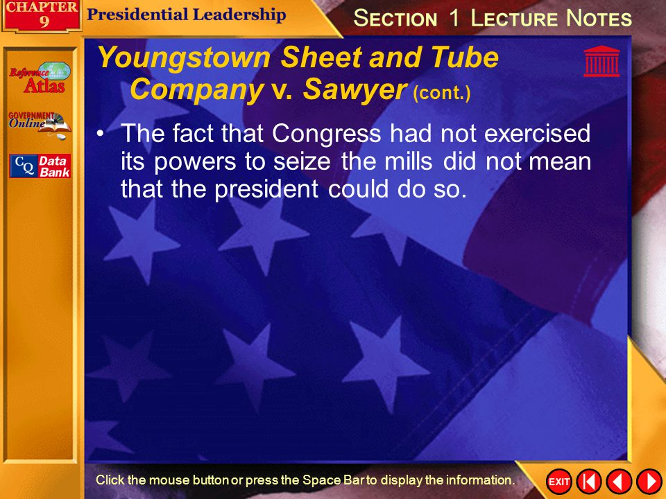 Youngstown Sheet and Tube Company v. Sawyer (cont.)