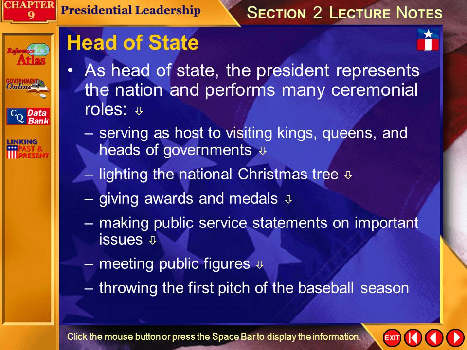 Head of State As head of state, the president represents the nation and performs many ceremonial roles: 
