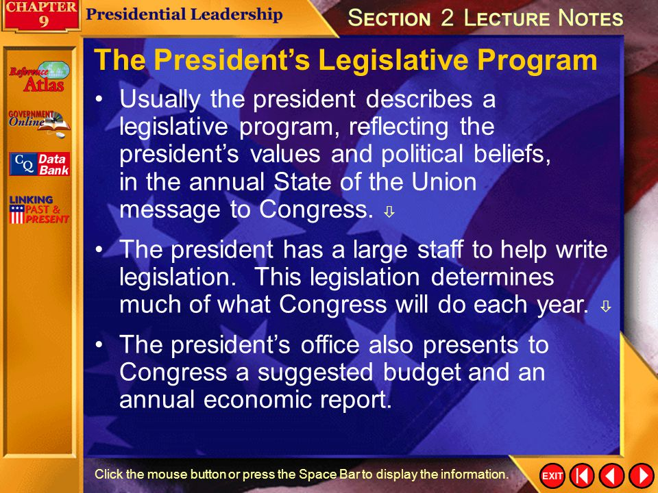 The President's Legislative Program