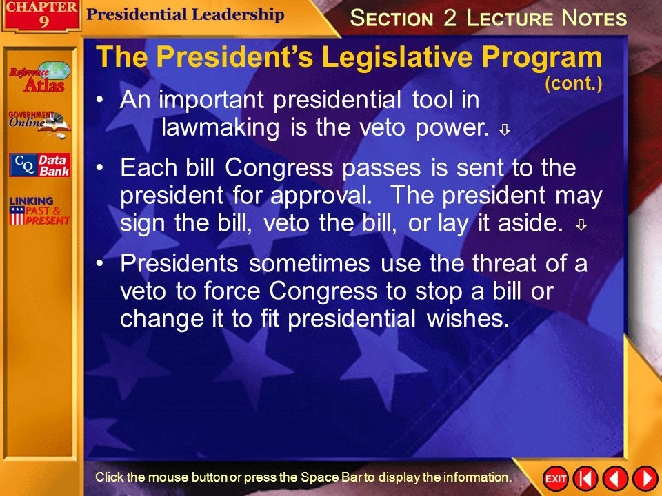 The President's Legislative Program (cont.)