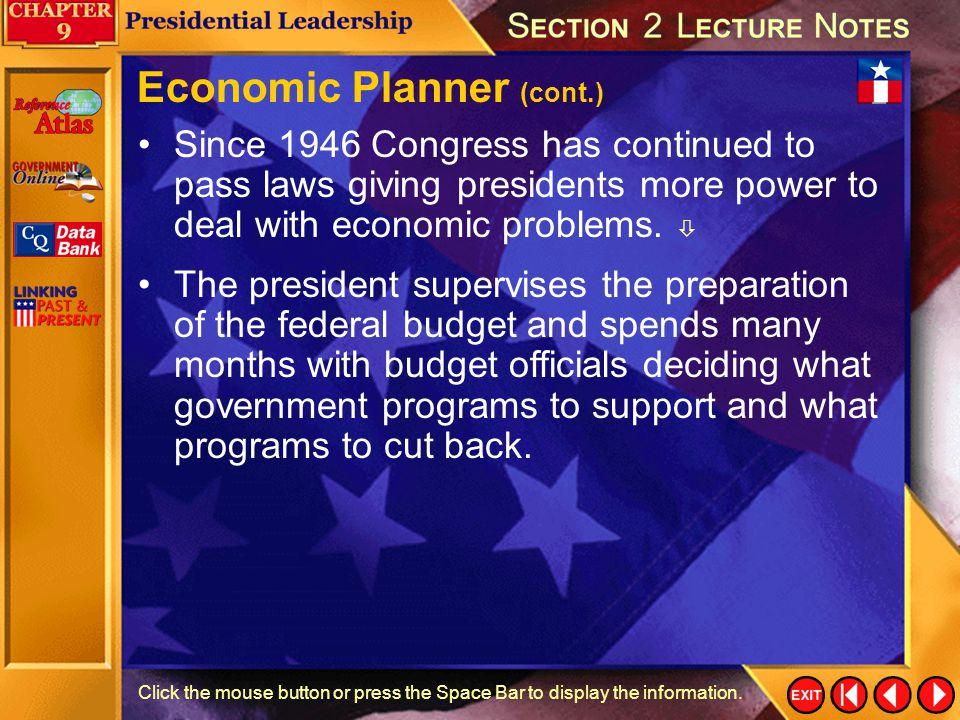 Economic Planner (cont.)