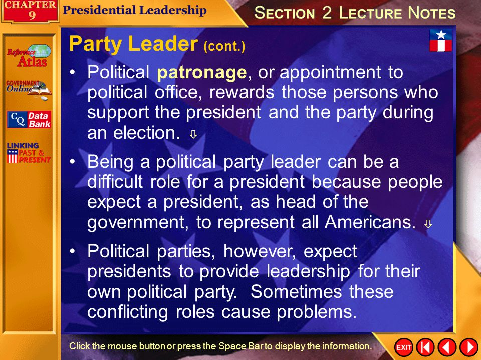 Party Leader (cont.)