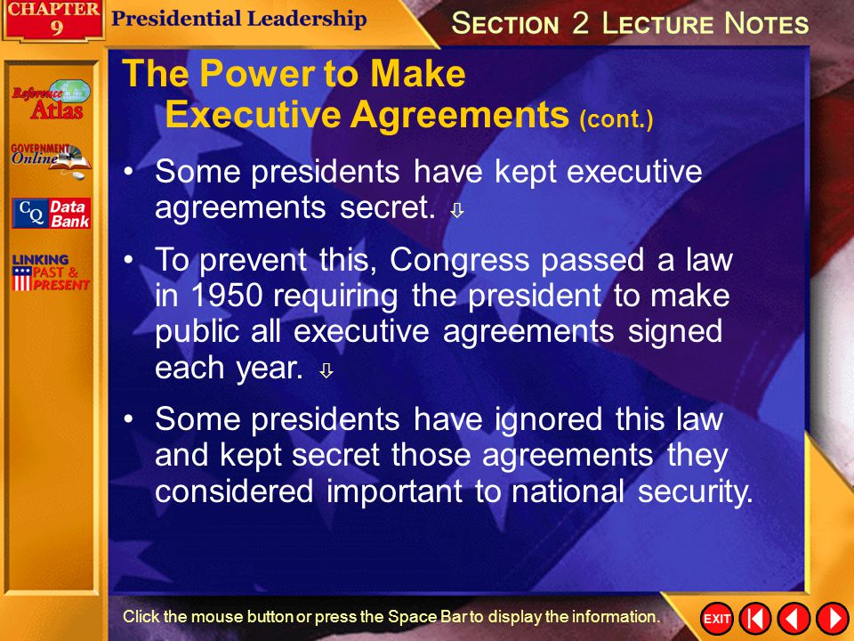 Executive Agreements (cont.)
