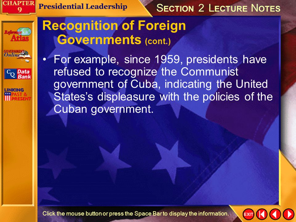 Recognition of Foreign Governments (cont.)
