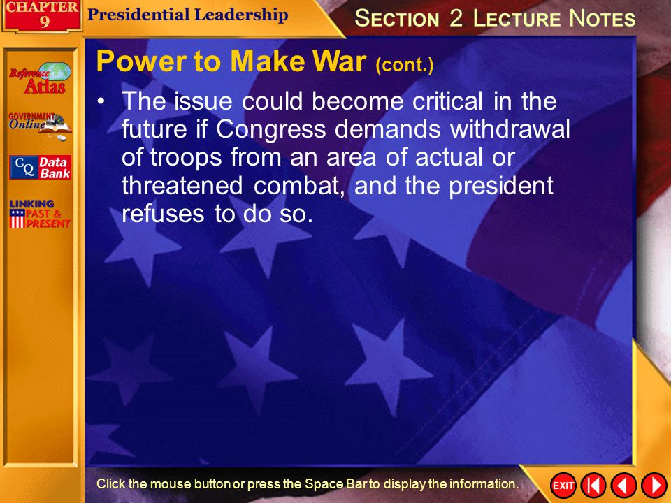 Power to Make War (cont.)