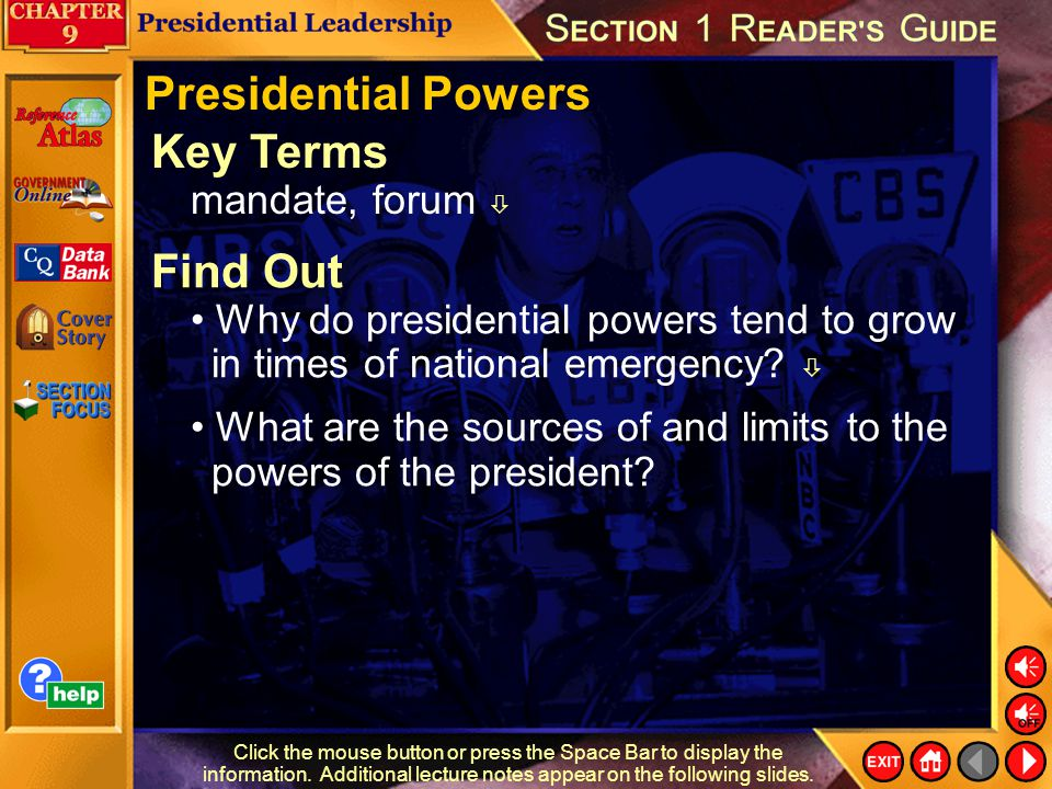Presidential Powers Key Terms