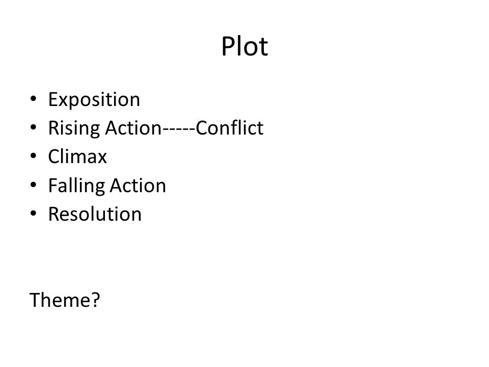 Plot Exposition Rising Action-----Conflict Climax Falling Action