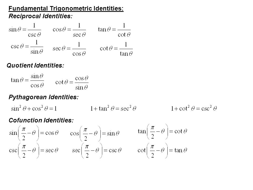 Fundamental Trigonometric Identities: