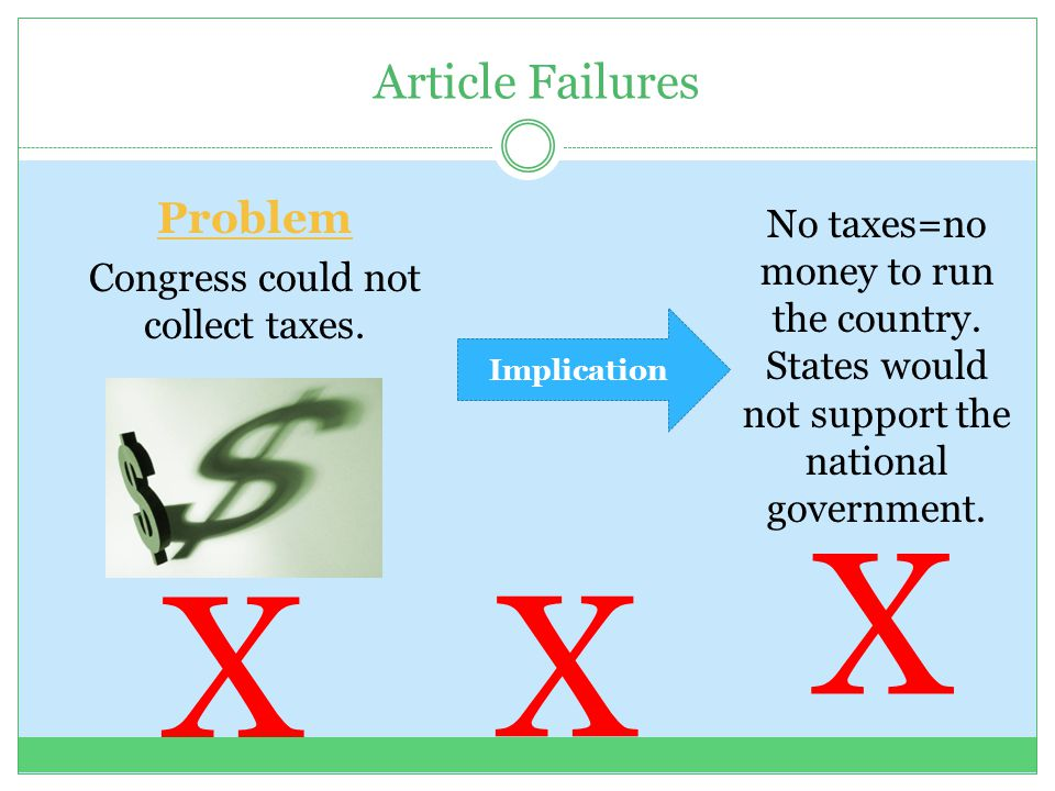 X X X Article Failures Problem No taxes=no money to run the country.