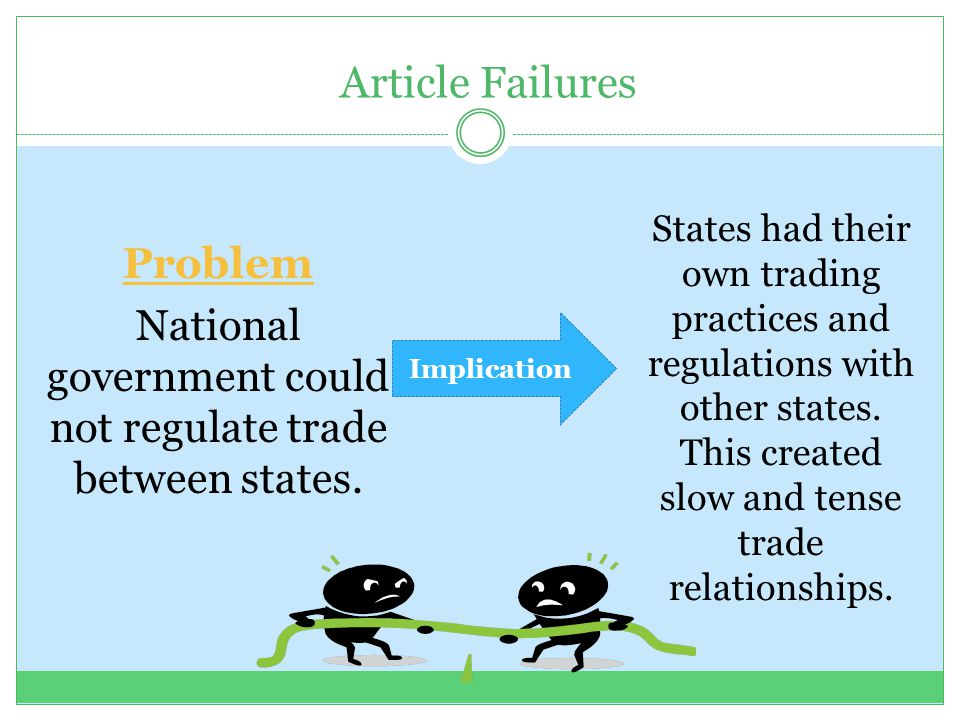 National government could not regulate trade between states.