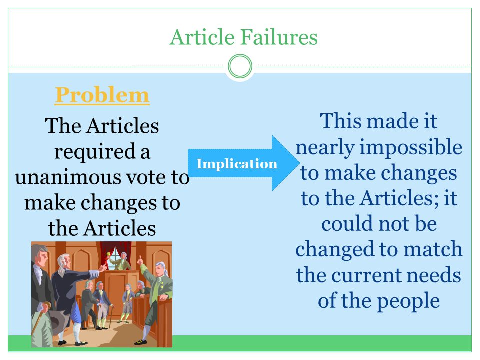 The Articles required a unanimous vote to make changes to the Articles